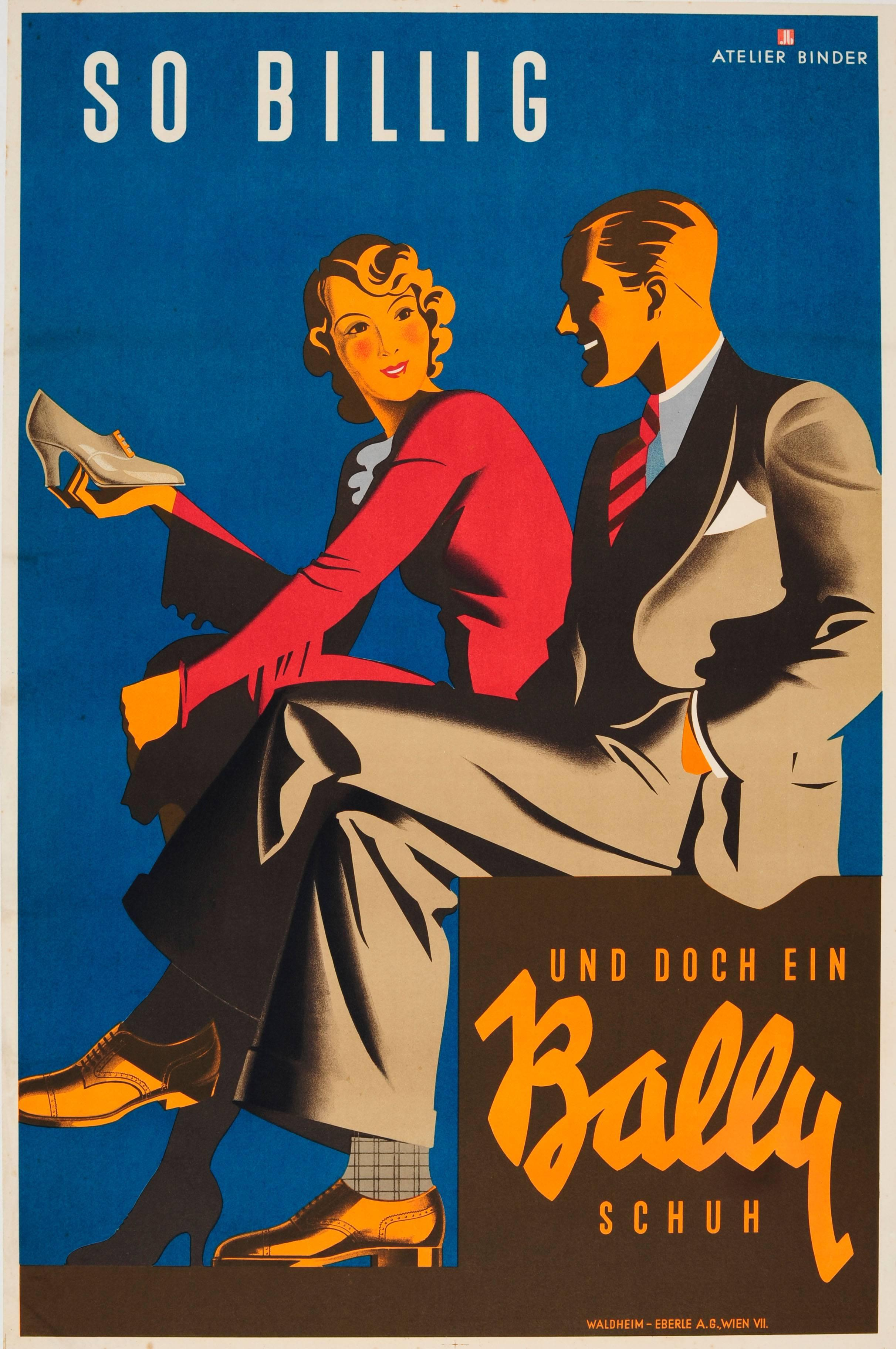 Deco Poster Original Vintage Art Deco Poster For Bally Shoes So Cheap And Yet A Bally Shoe