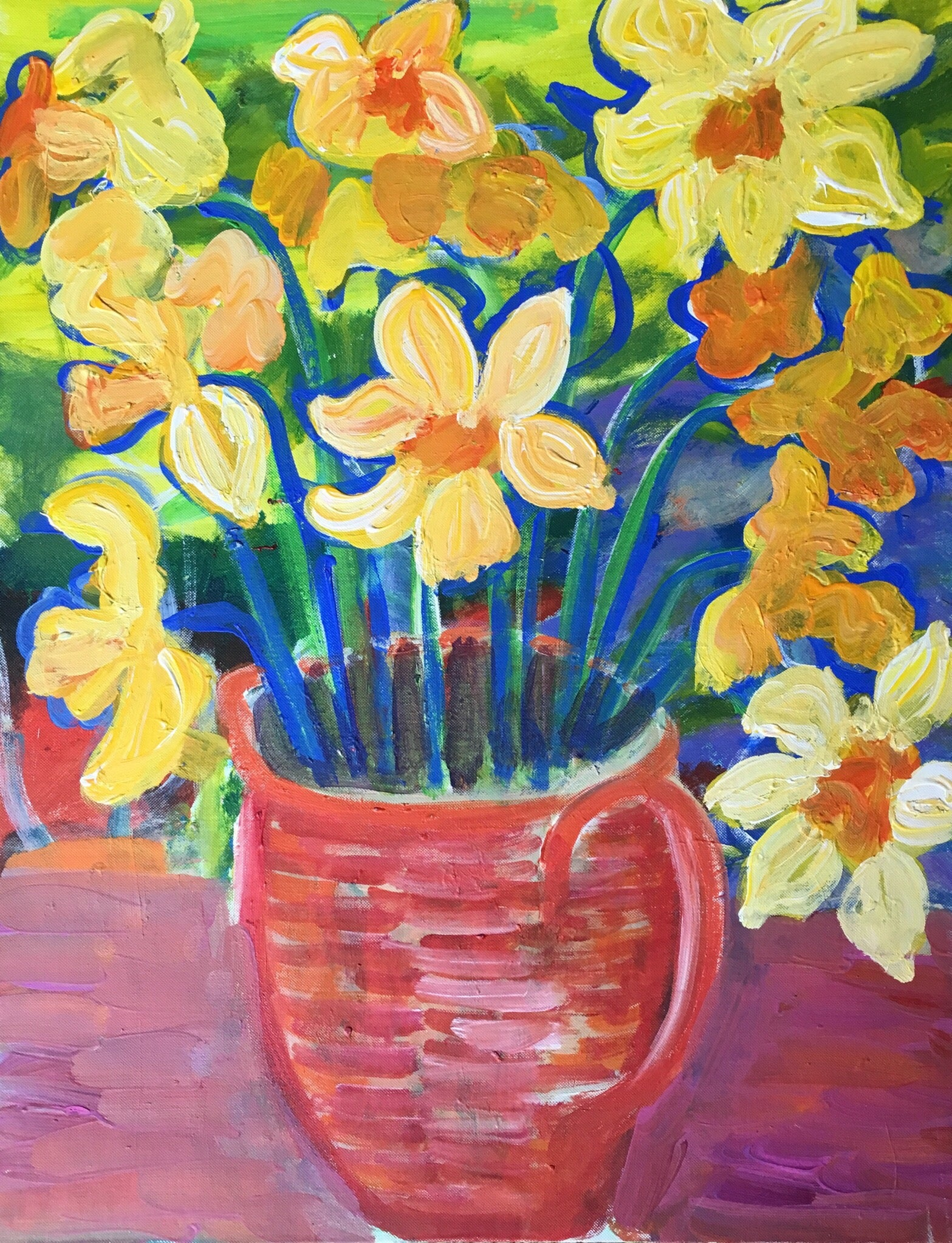 Bright Colours Painting Daffodils Impressionist Bright Colours Oil Painting