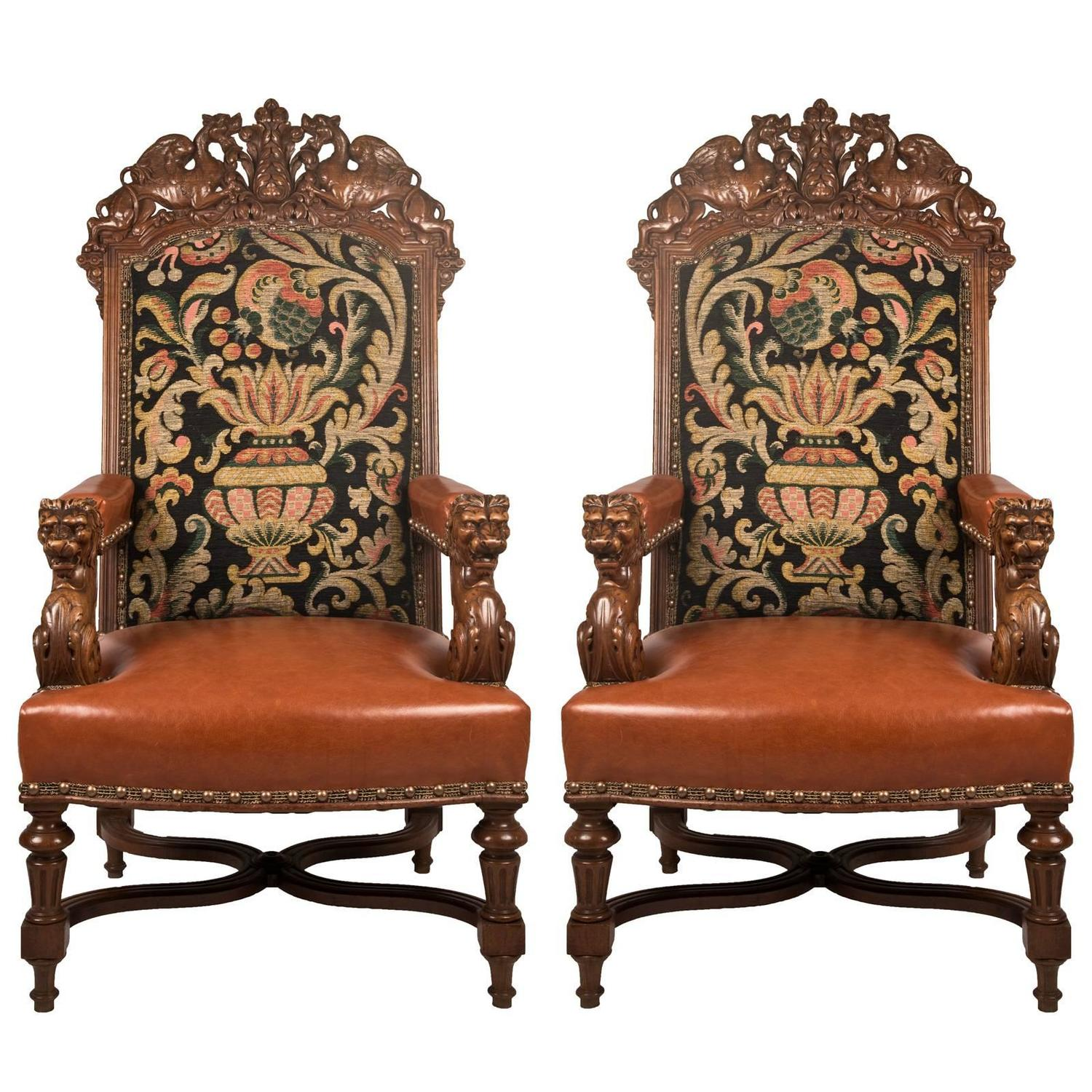 Louis The 14th Furniture Pair Of 19th Century Louis Xiv Style Fauteuil Walnut
