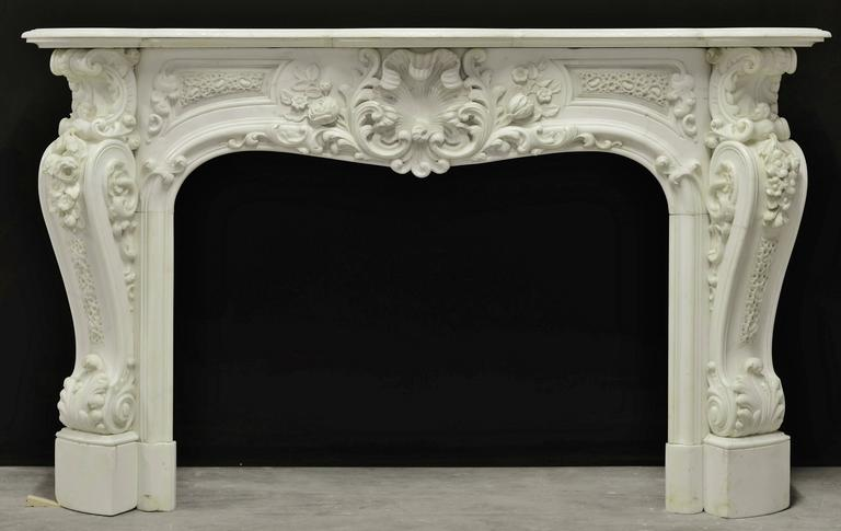 Beautiful Highly Ornated Floral White Marble Louis Xv