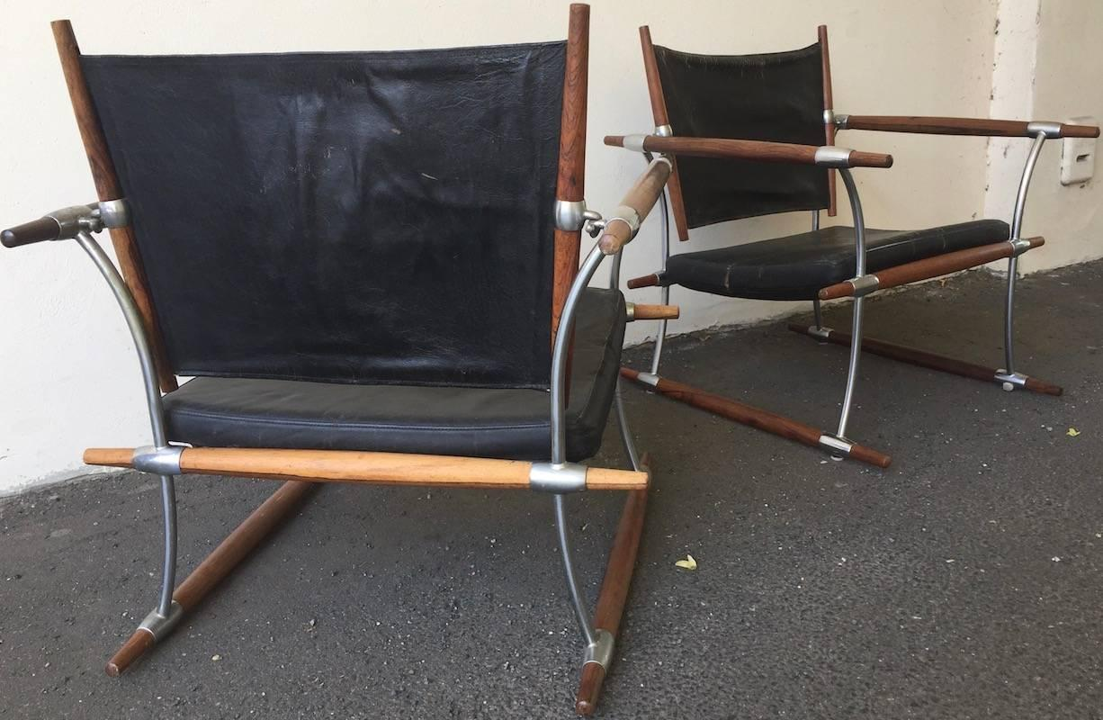 Rare Pair Of Stokke Rosewood Lounge Chairs By Jens