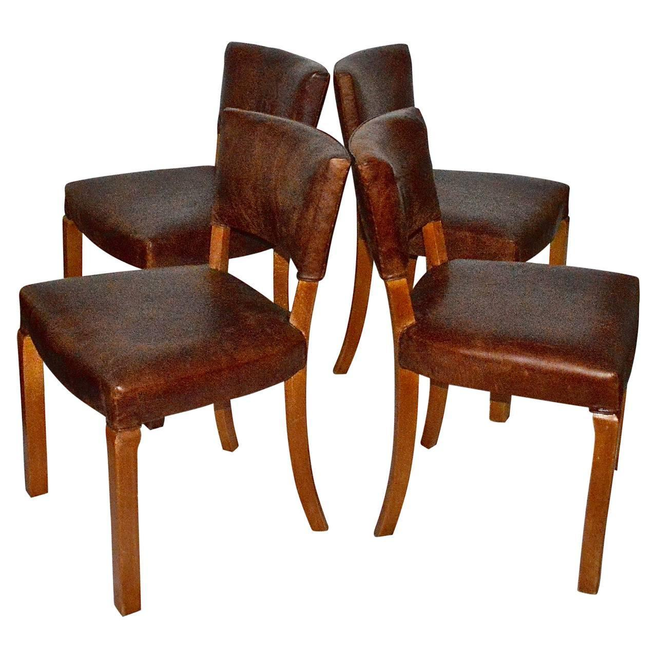 Artistic Dining Chairs 20th Century Art Deco Leather Dining Chairs For Sale At