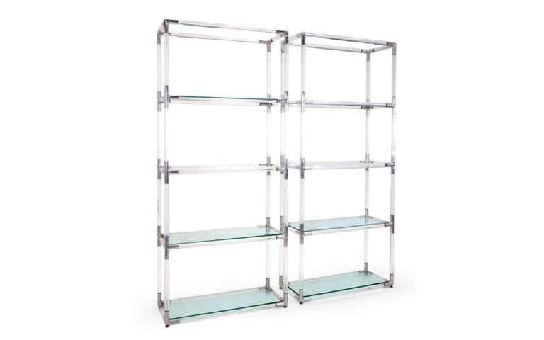 Pair Charles Hollis Jones Style Lucite And Chrome Shelves
