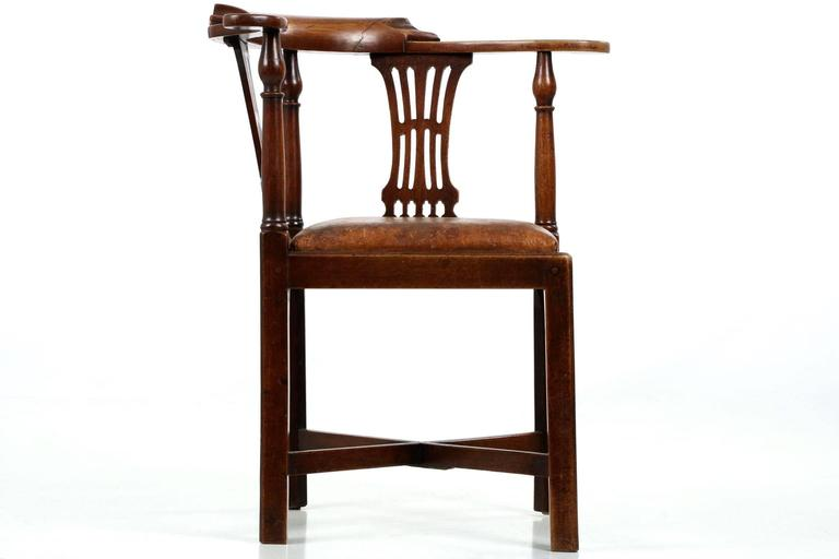 Antique Quotroundaboutquot Corner Chair With Leather Seat Circa