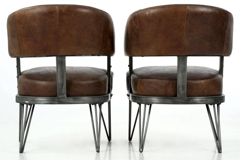 Modern pair of french industrial style leather and