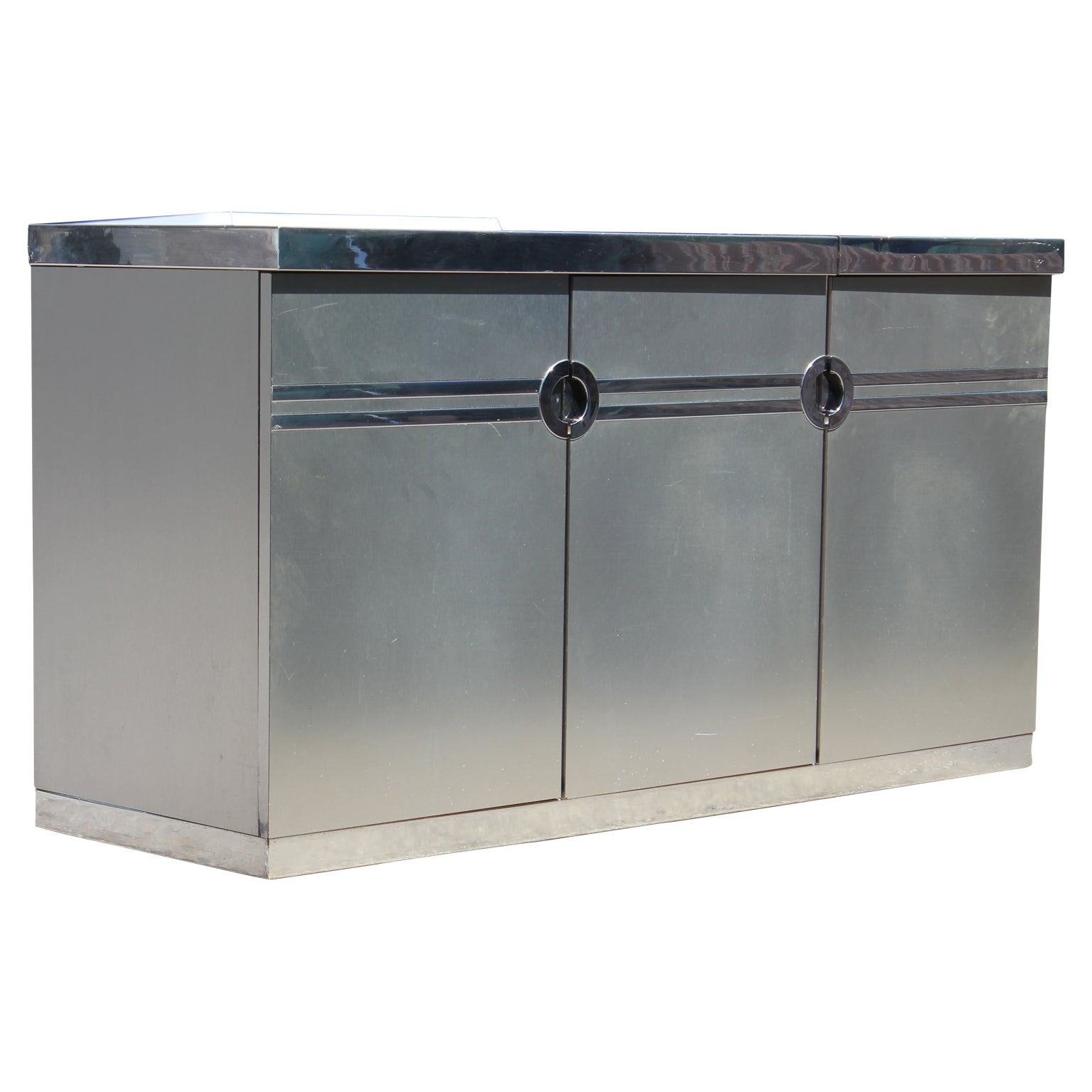 Bar En Pierre Modern Pierre Cardin Brushed Aluminium And Chrome Flip Top Dry Bar