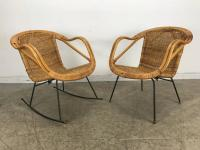 Pair of Mid-Century Modern Wicker and Iron Lounge Chairs ...