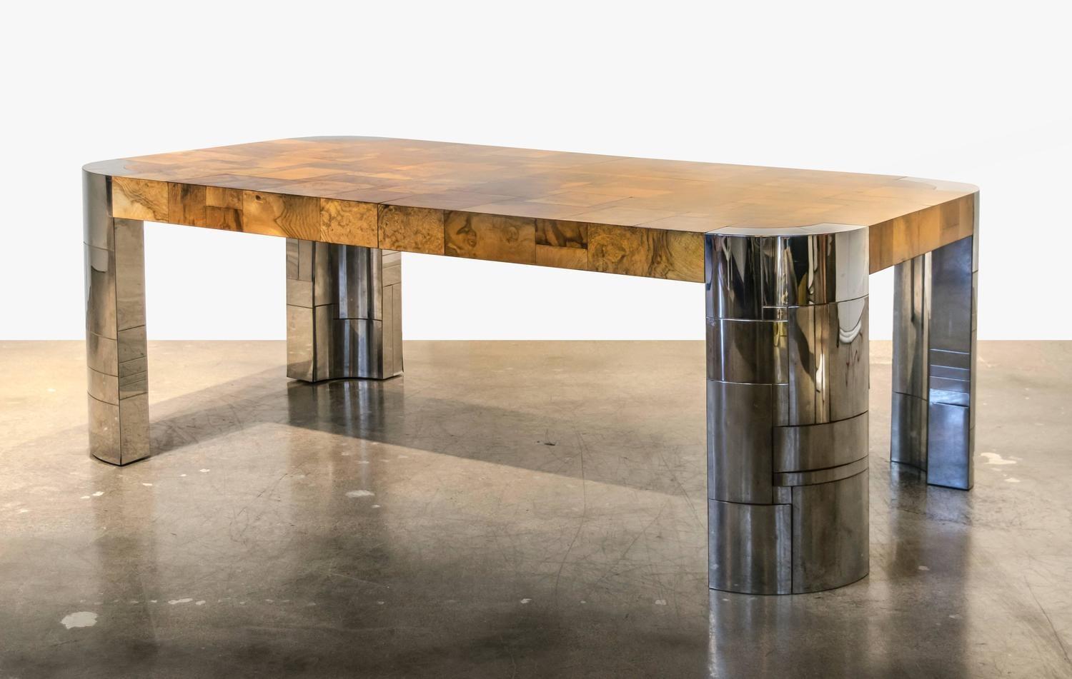 Long Dining Table For Sale Signed Paul Evans Cityscape Extra Long Burl And Chrome