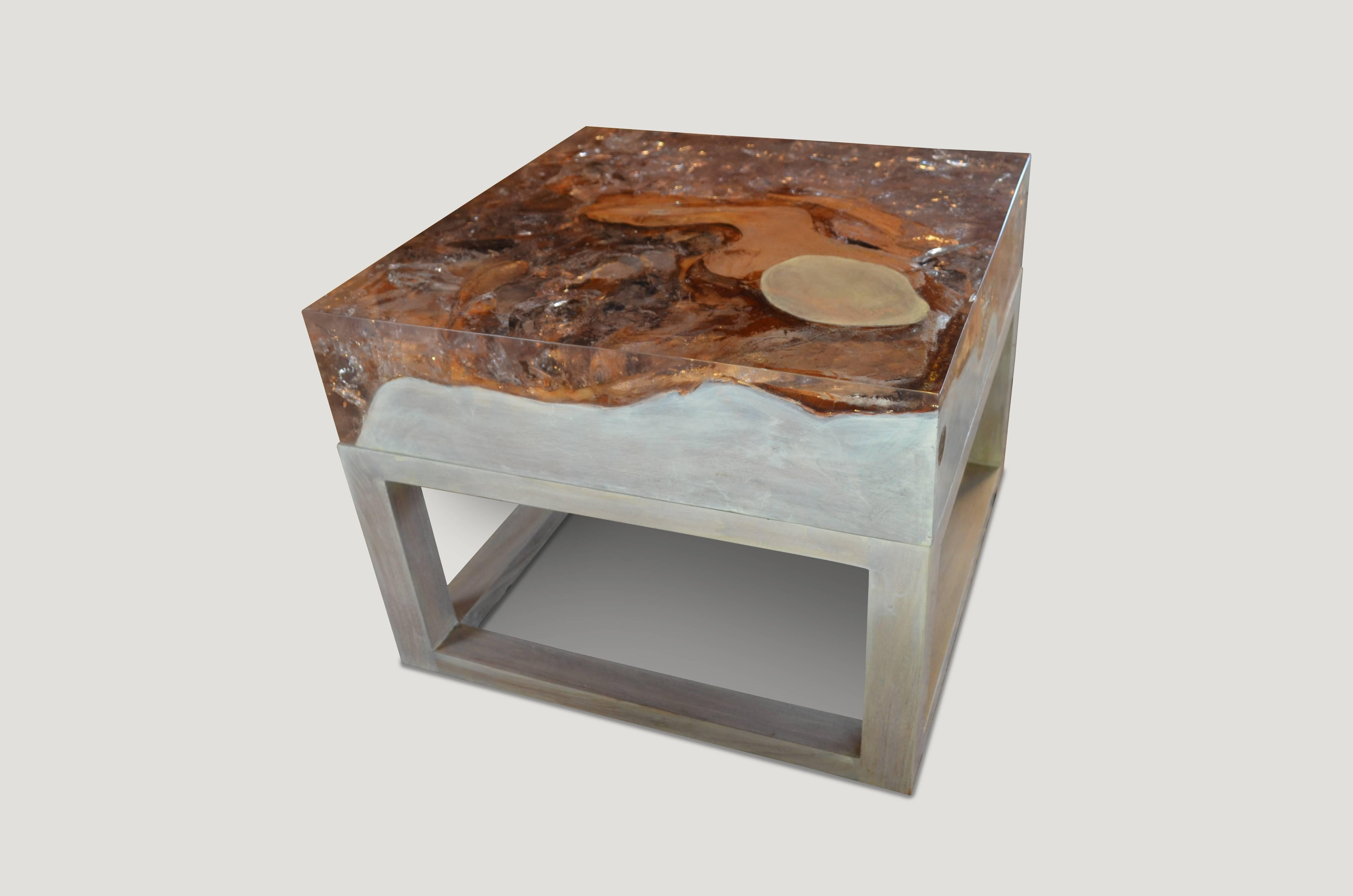 Andrianna Shamaris Cracked Resin Side Table Or Coffee