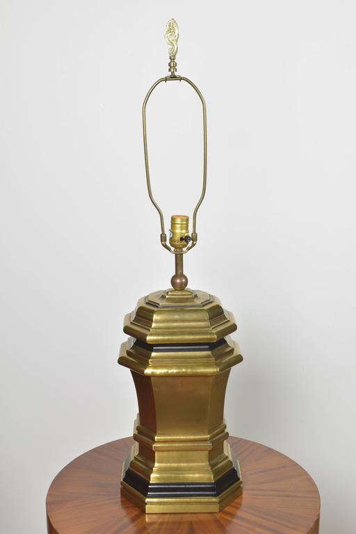 Vintage Chapman Brass Lamp with Black Accents For Sale at
