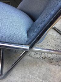 Ward Bennett for Brickel Associates Chrome Scissor Chair ...