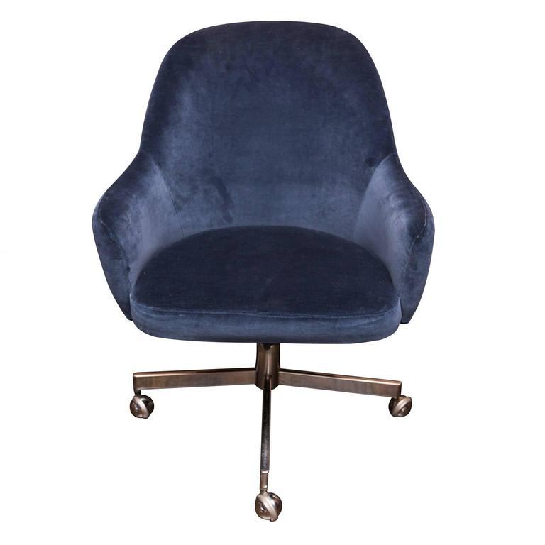 Knoll Desk Chair In Blue Velvet At 1stdibs