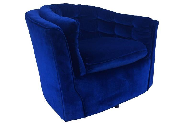 Royal Blue Velvet Mid Century Modern Swivel Chair At 1stdibs