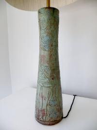 1950s Midcentury Studio Art Pottery Table Lamp Sgraffito ...