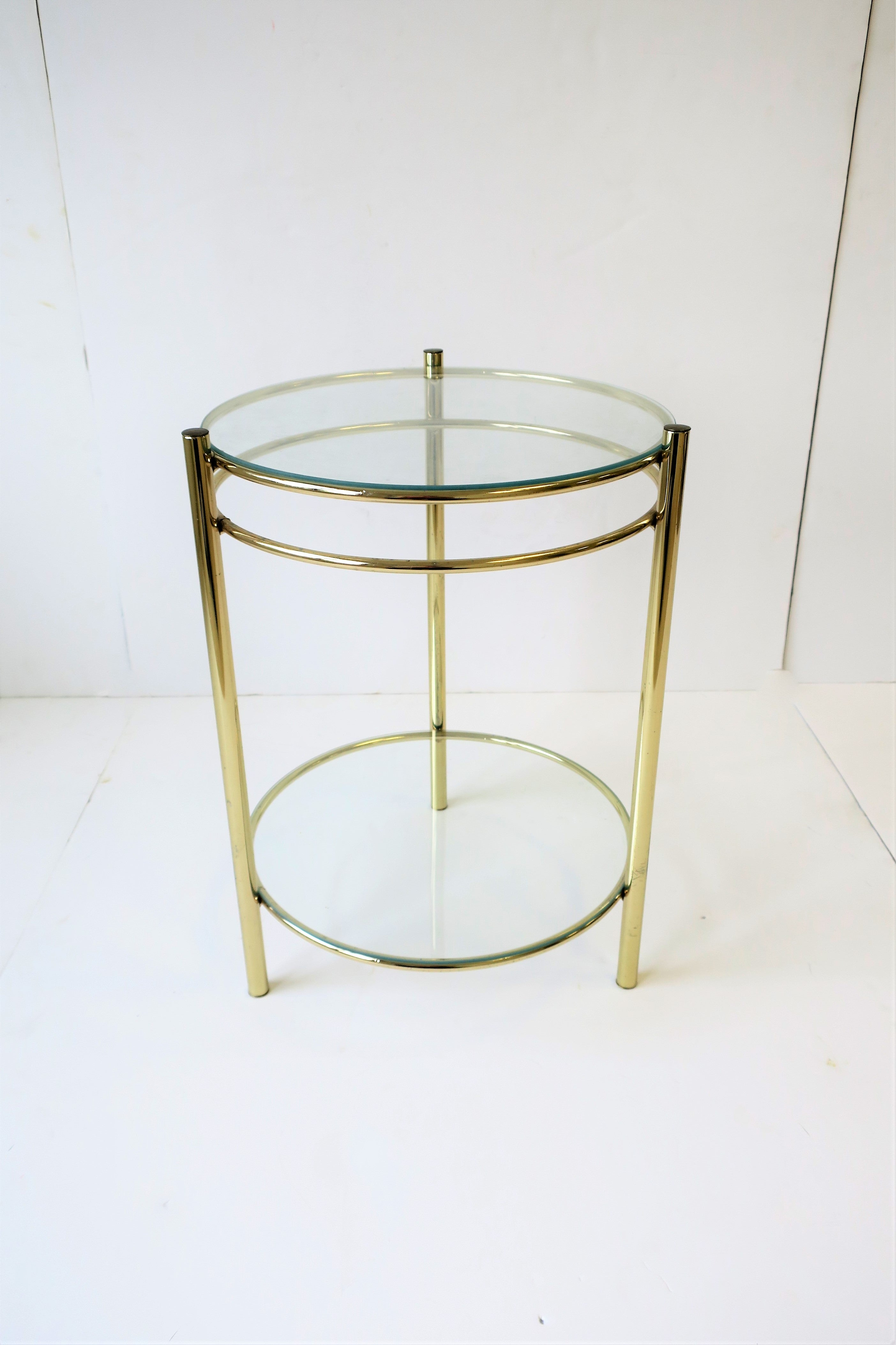 Small Round Glass End Table Round Brass And Glass Side Or Drinks Table