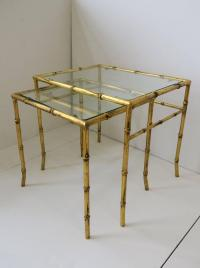 Set of Midcentury Italian Gold Gilt Bamboo and Glass ...
