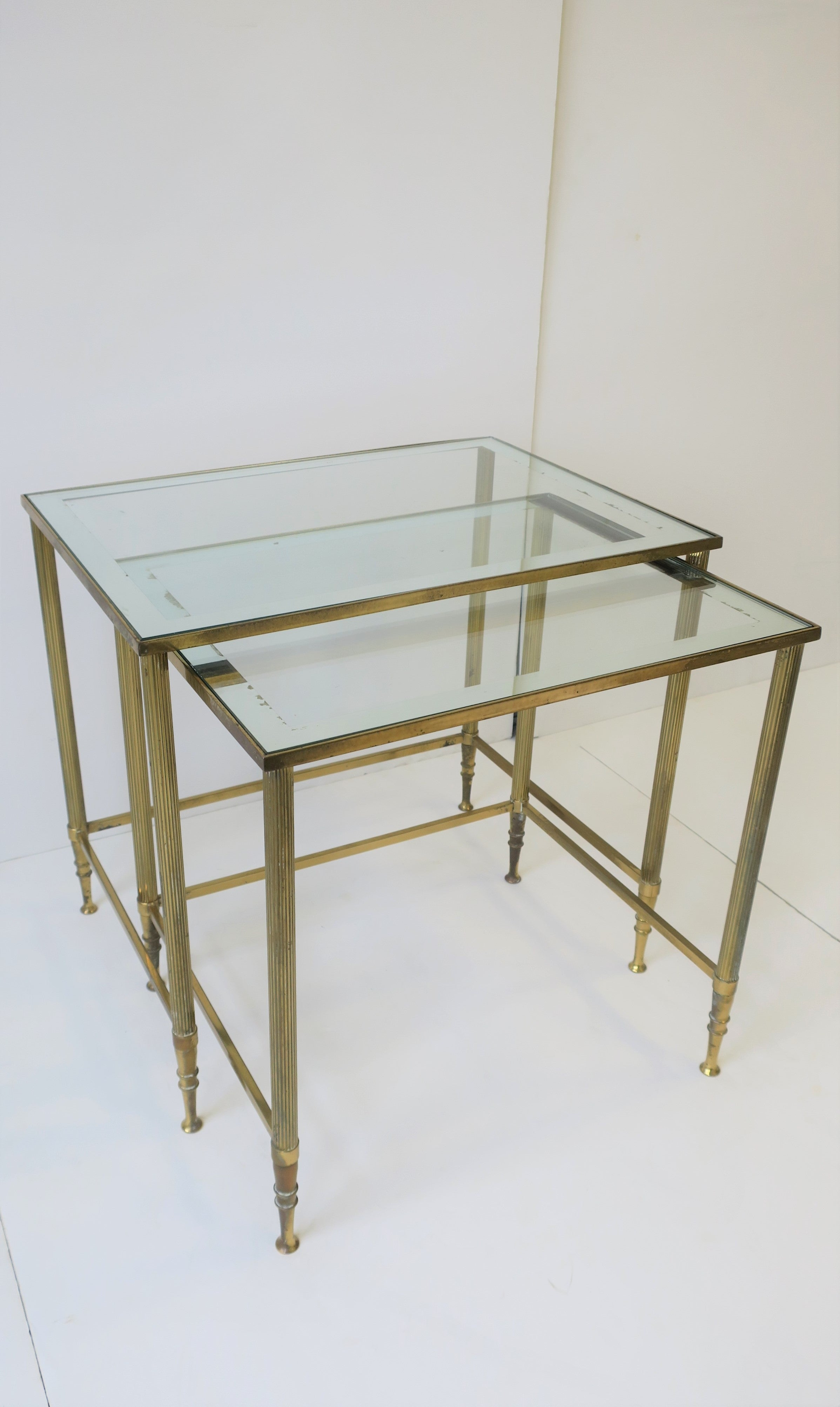 Glass Nesting Tables Midcentury Italian Brass And Glass Nesting Tables