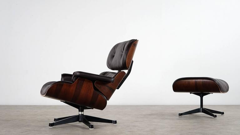 Charles Eames Lounge Chair And Ottoman Rosewood And Brown
