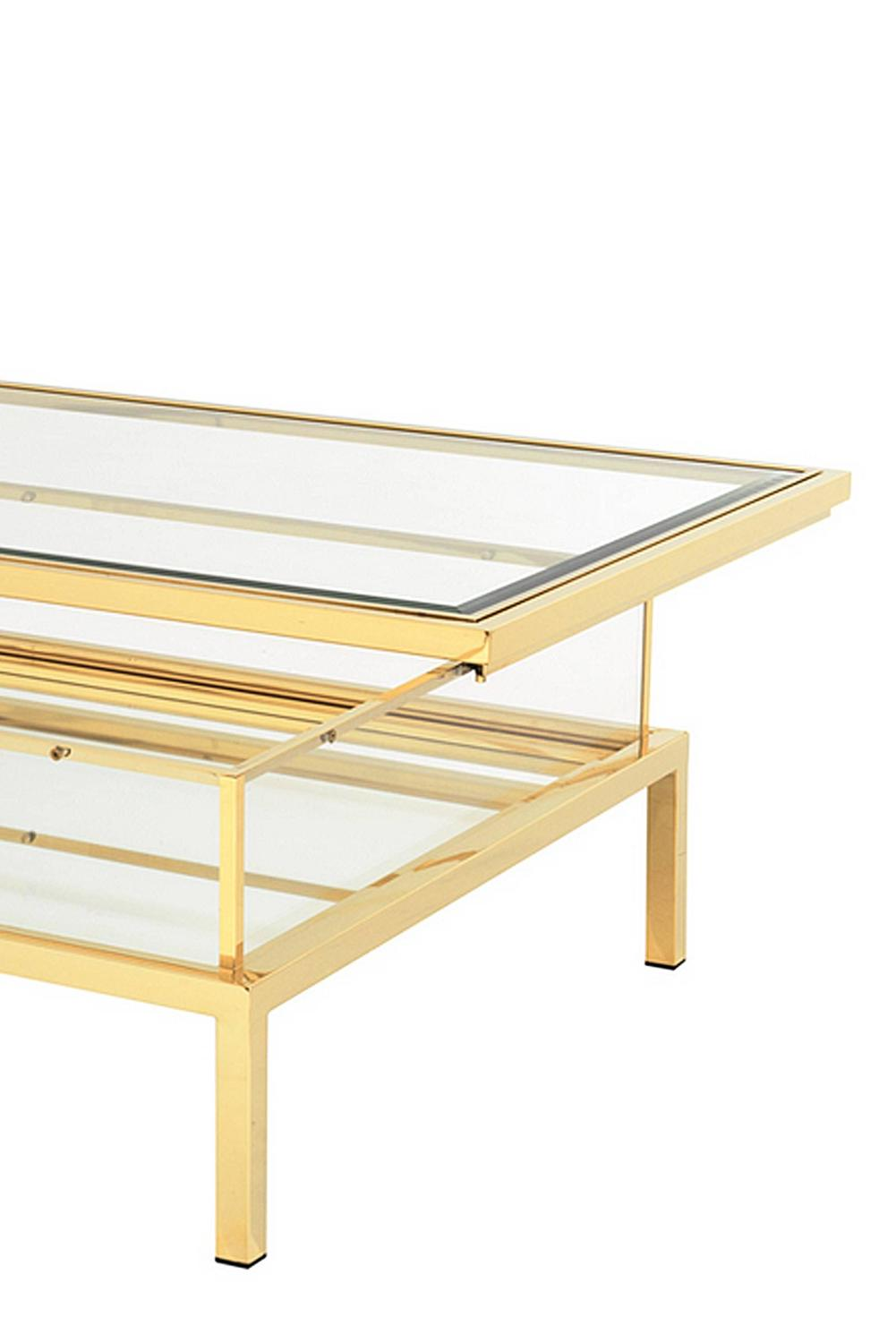 Couchtisch Glas Verschiebbar Slide Coffee Table In Gold Finish With Clear Glass And