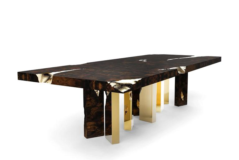 Majestic Dinning Table In Mahogany And Polished Brass