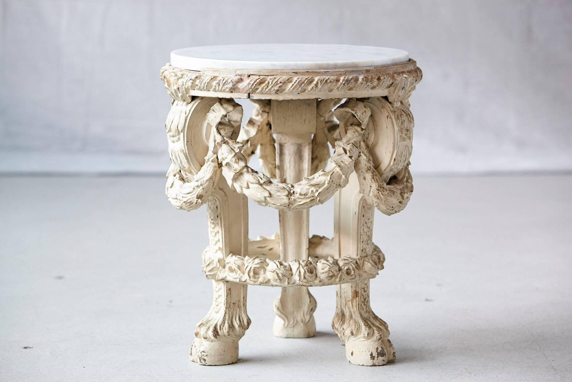 Victorian Side Table With Detailed Carvings Paint Finish