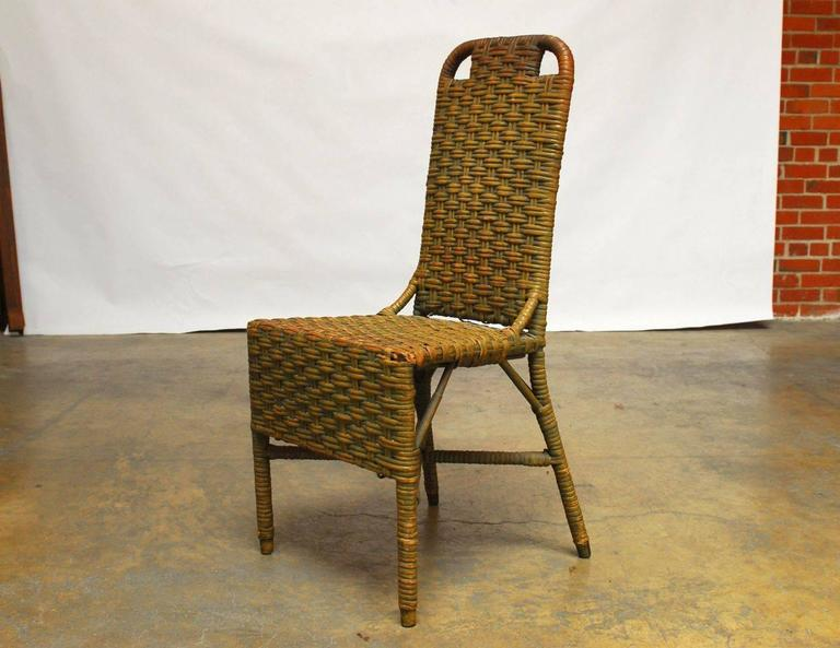 French Wicker Writing Table Desk And Chair At 1stdibs