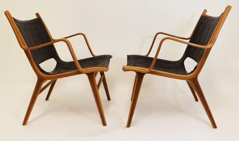 Pair Of Ax Chairs By Fritz Hansen Signed Bentwood And