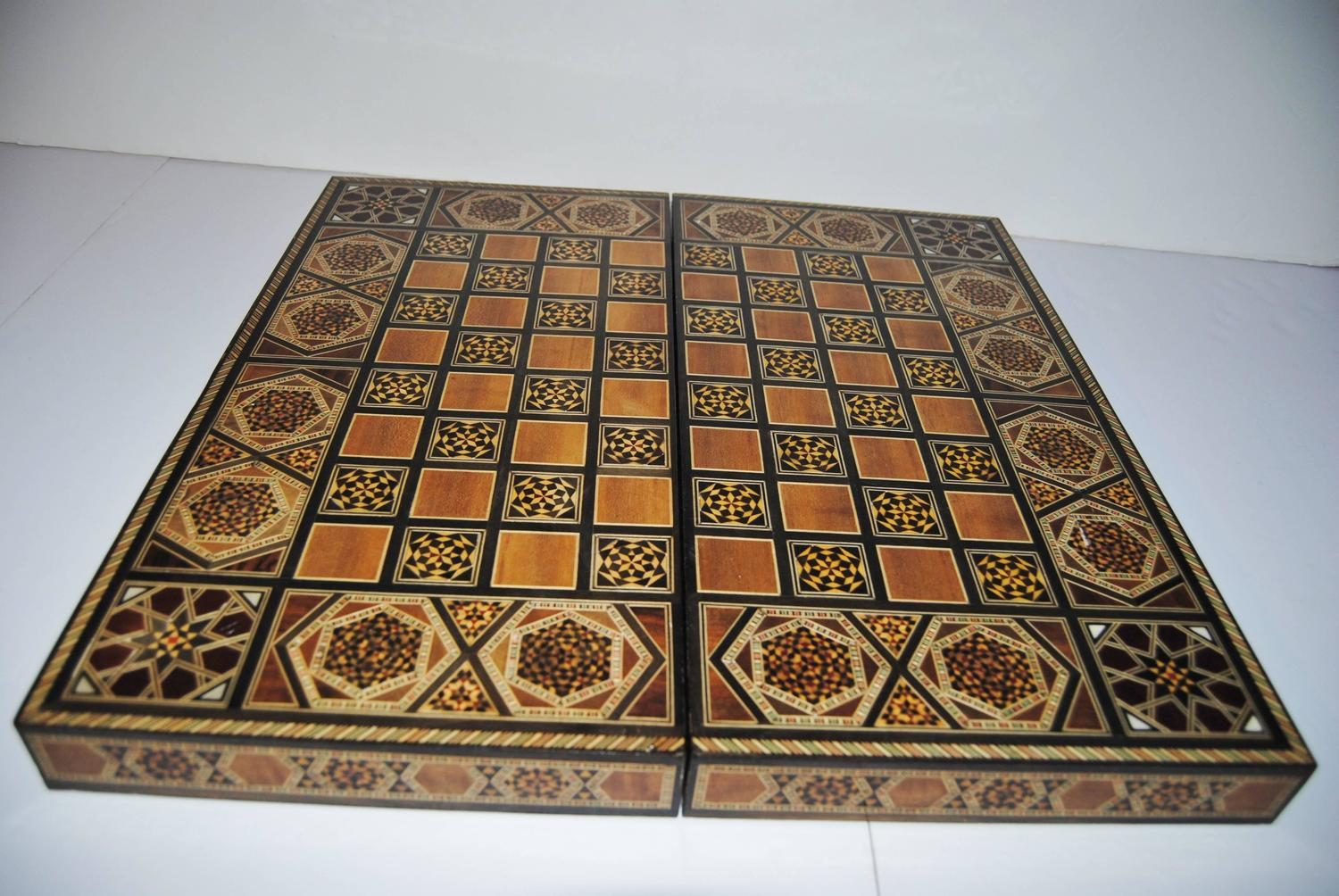 Handcrafted Games Syrian Handcrafted Backgammon Chess Board With Inlaid