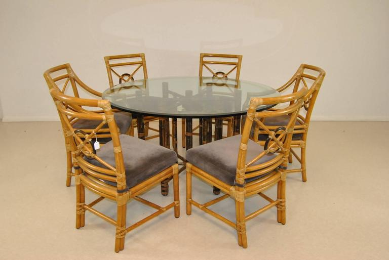Glass Top Rattan Round Dining Table By Mcguire At 1stdibs