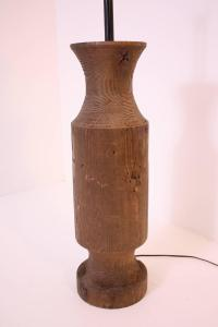 Large Midcentury Turned Wood Lamp For Sale at 1stdibs