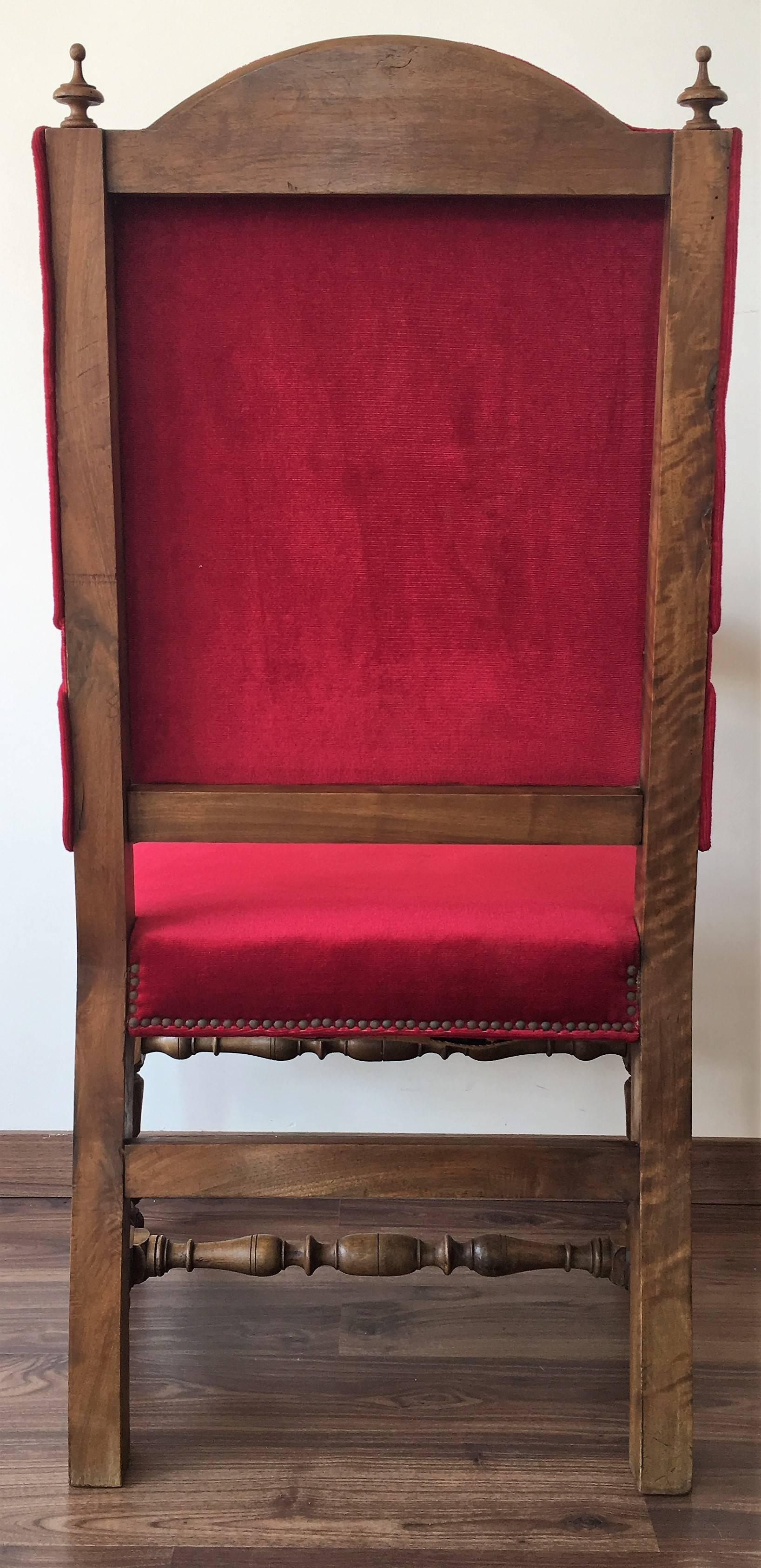 Fauteuils Louis 13 19th Century Louis Xiii Style Fauteuils Throne Armchair In Red Velvet