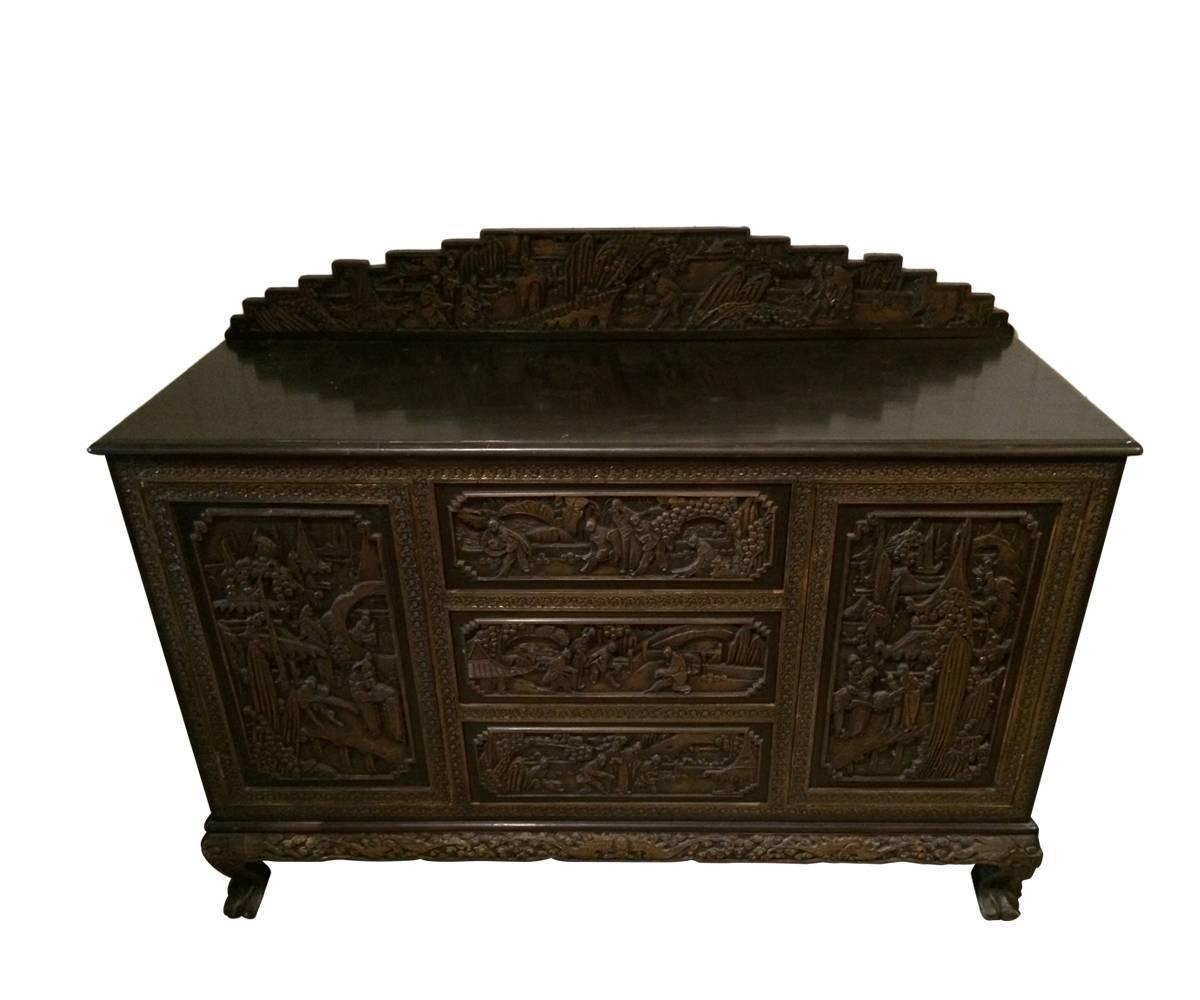 Asia Sideboard Antique Hand Carved Chinese Sideboard For Sale At 1stdibs