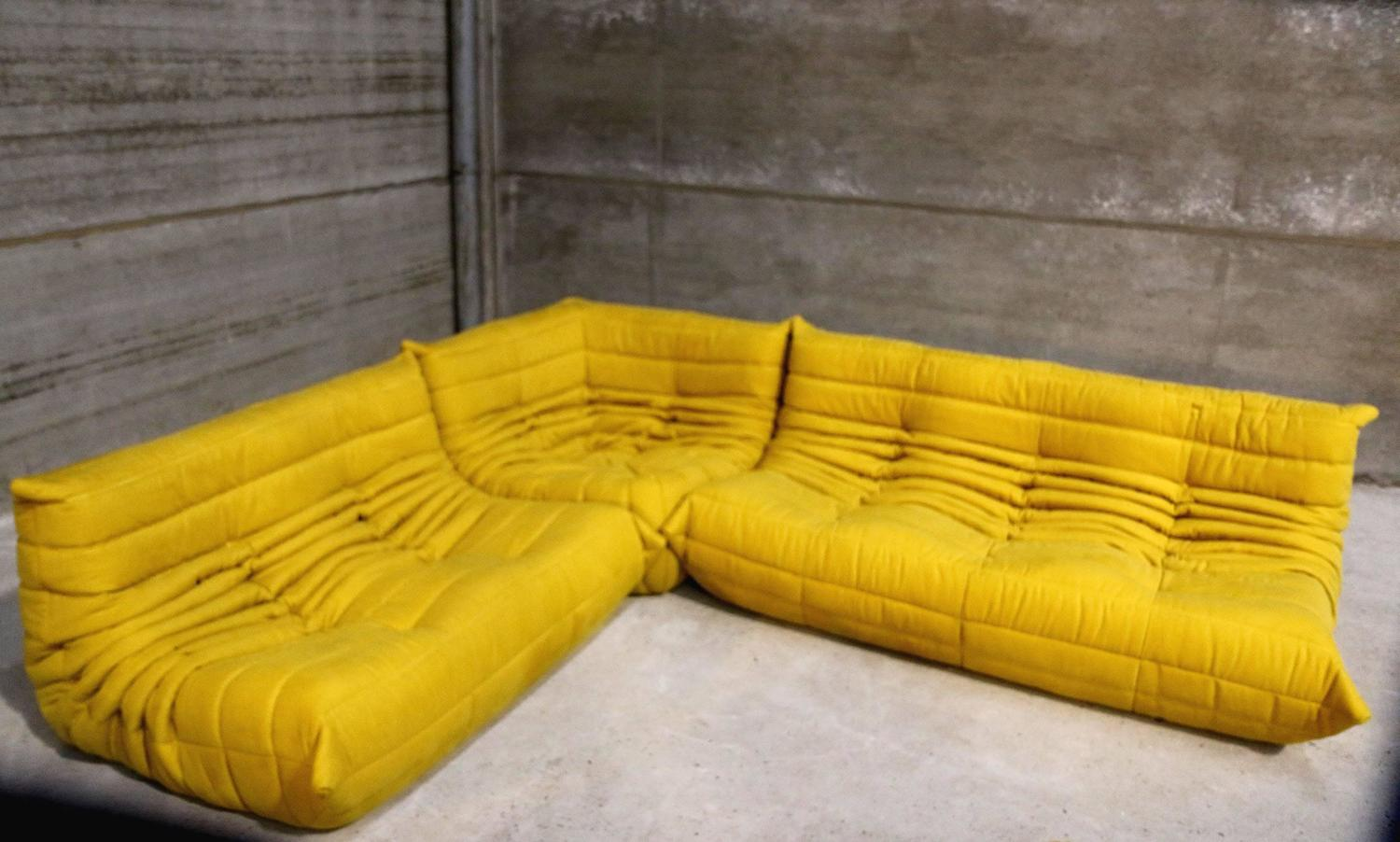 Togo Sofa Vintage Yellow Togo Sofa Set Michel Ducaroy For Ligne Roset