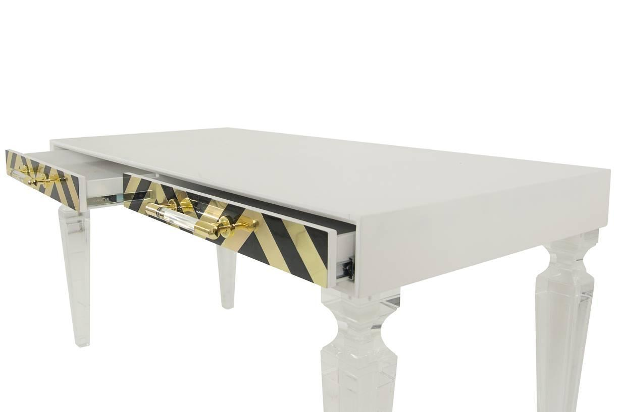 White And Gold Desk Chair White Desk In Black And Gold With Lucite Legs For Sale At
