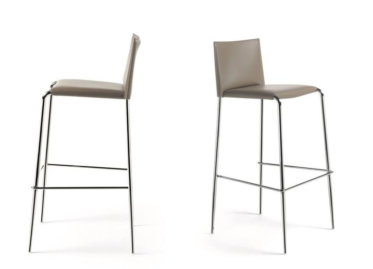 Italian Modern Bar Stool Made Of Leather Made In Italy