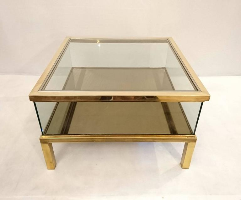 Couchtisch Glas Verschiebbar Sliding Top Coffee Table Glass And Brass At 1stdibs