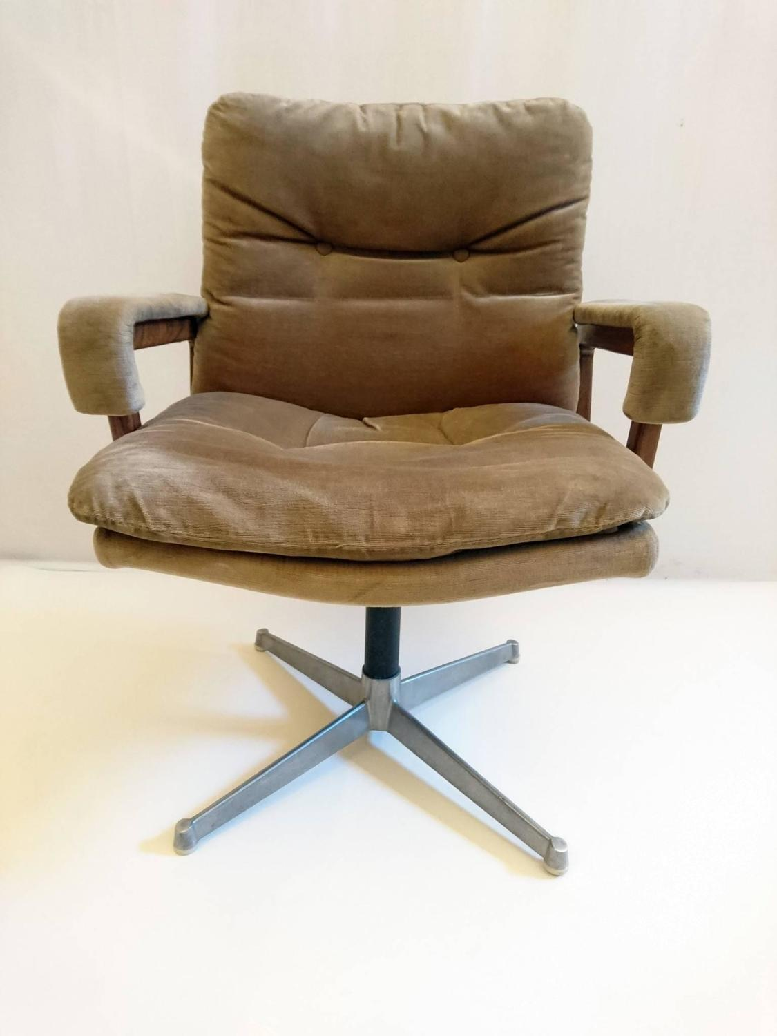 Italian Office Chair In Velvet And Teak For Sale At 1stdibs