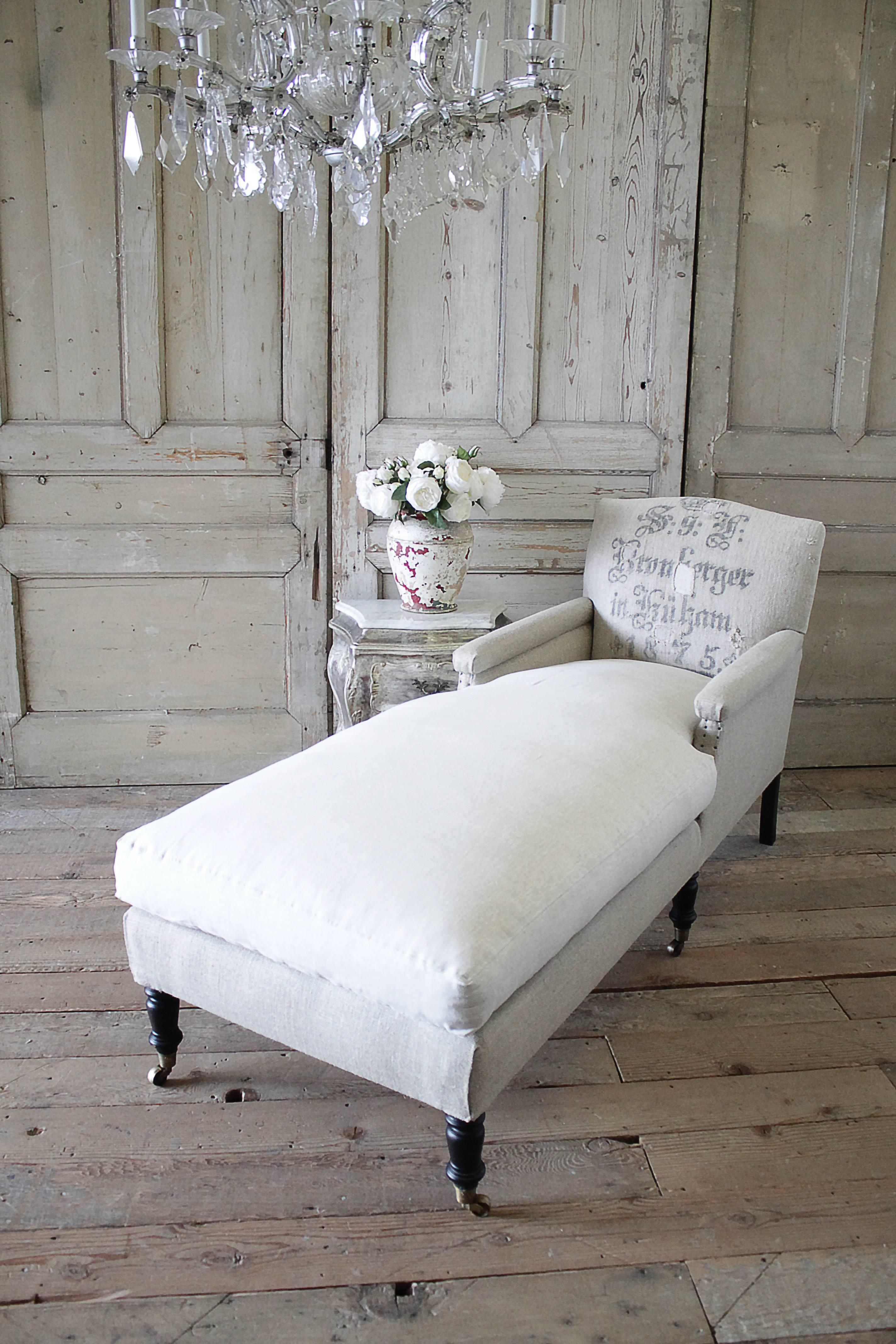 Chaise Design Patchwork Antique Style Chaise Longue With Antique German Feed Sack Upholstery