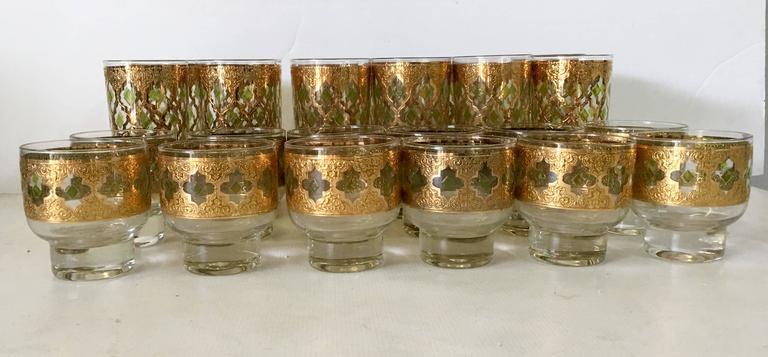 Mid Century Culver Quotvalenciaquot 22 Karat Drink Glasses Set