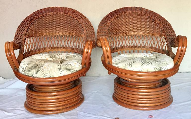 1950s Paul Frankl Style Bent Rattan Reed And Wicker Swivel