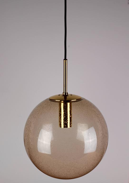 E27 Lamp Cord Five 1970s Spherical Smoked Glass Globe Pendant Lights By