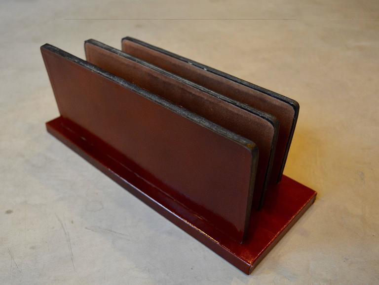 French Leather Desktop Letter Holder For Sale At 1stdibs