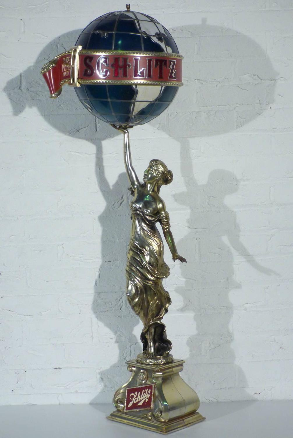 Schlitz Beer Colombian Princess Statue Lamp For Sale At