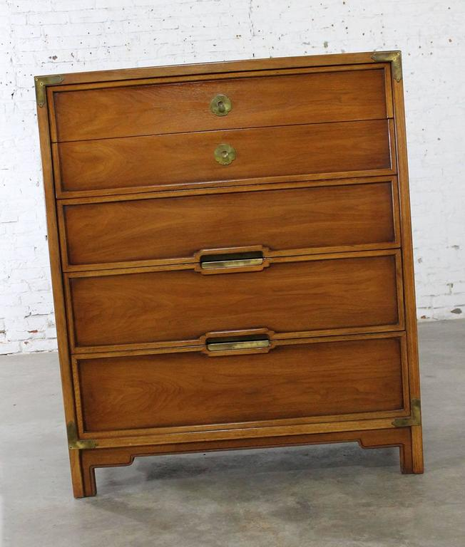 Compass By Drexel Five Drawer Campaign Chest Of Drawers