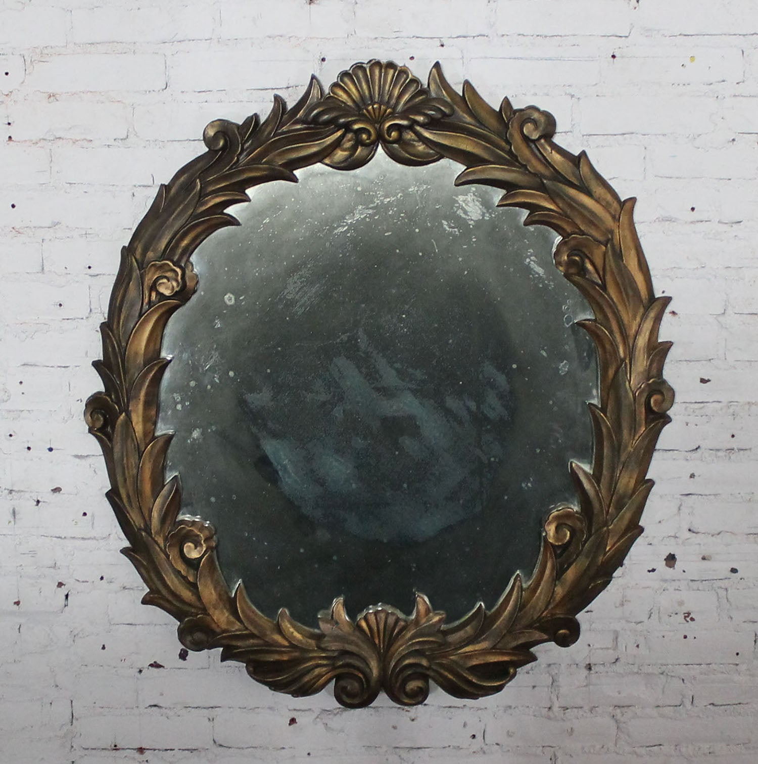 Mirror Inc Topeka Ks Large Antique Foliate Round Plaster Mirror In The Style Of Serge Roche