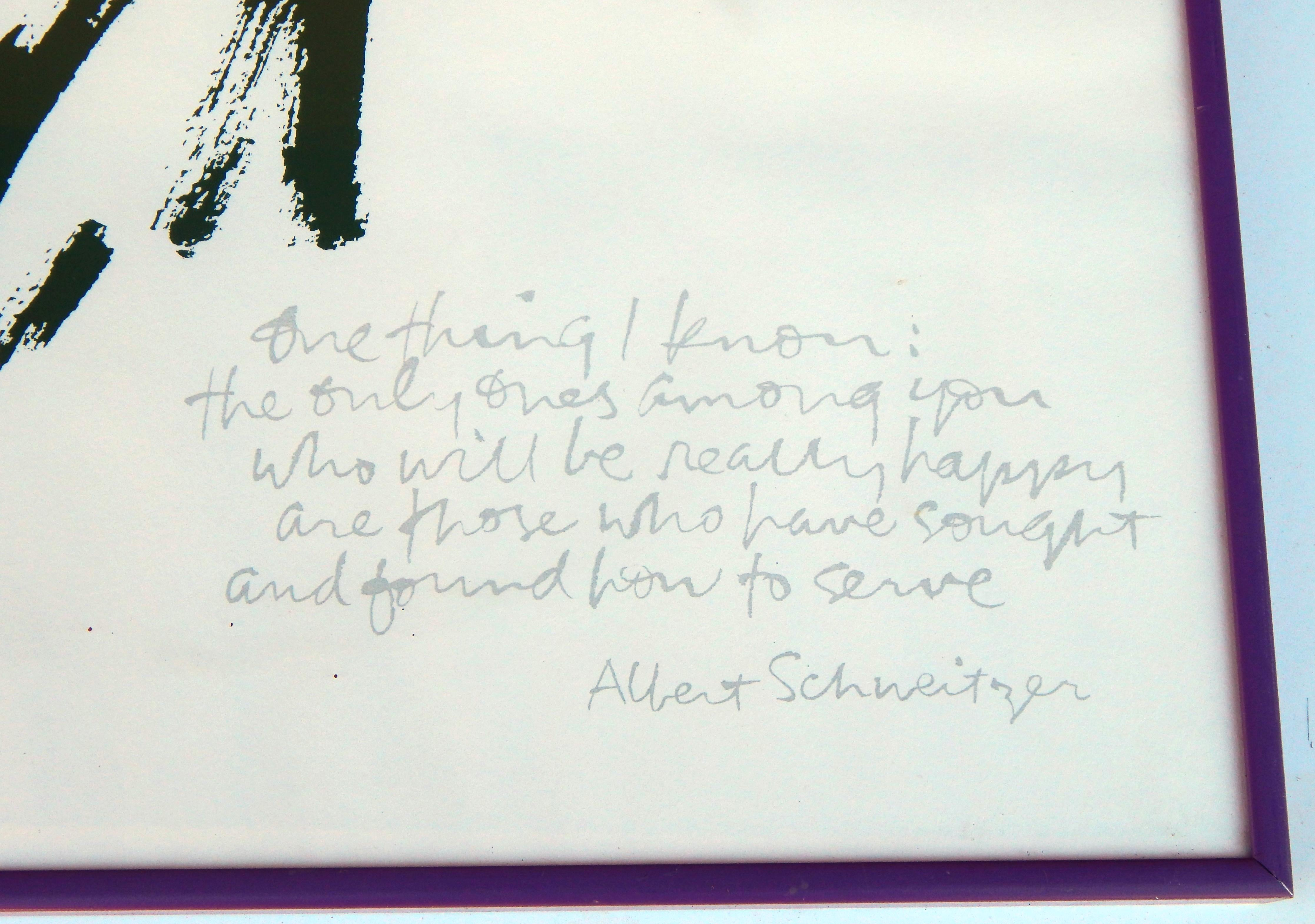 Somat Deco Corita Kent Original Serigraph Signed In Pencil With Quote By Albert Schweitzer