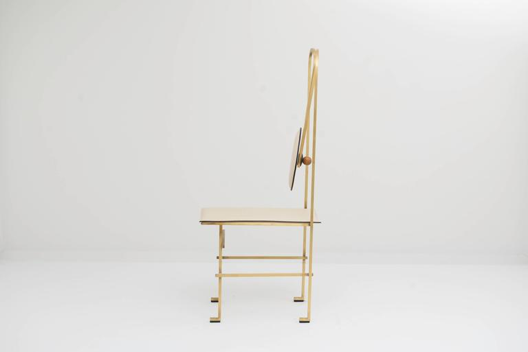 Mario Milana Depostura Dining Chair In Brass And Leather