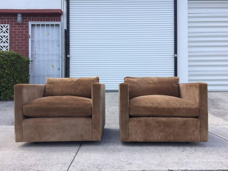Pair Of Charles Pfister Suede Leather Lounge Chairs For