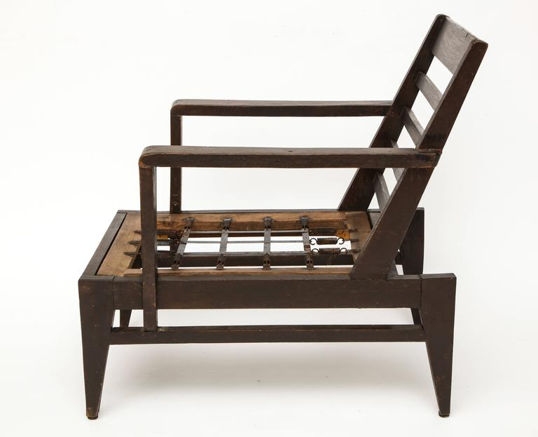 Attributed To Rene Gabriel Dark Wood Oak Lounge Chair Mid