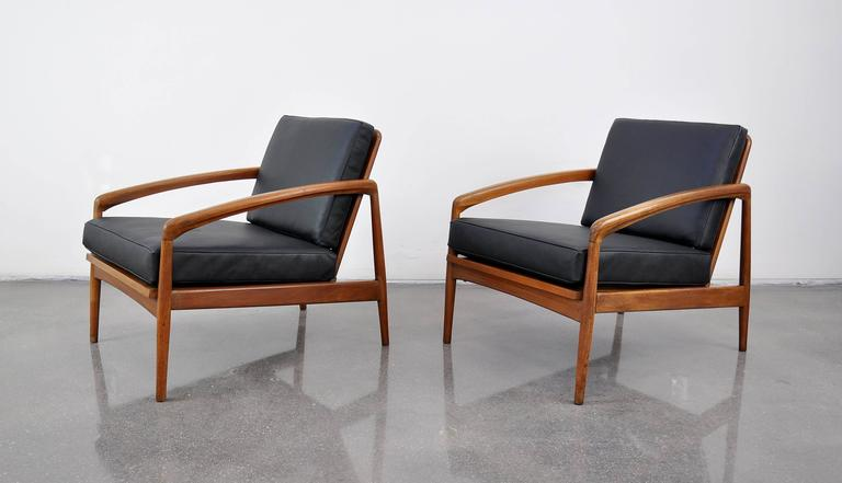 Pair Of Danish Modern Black Leather And Teak Lounge Chairs